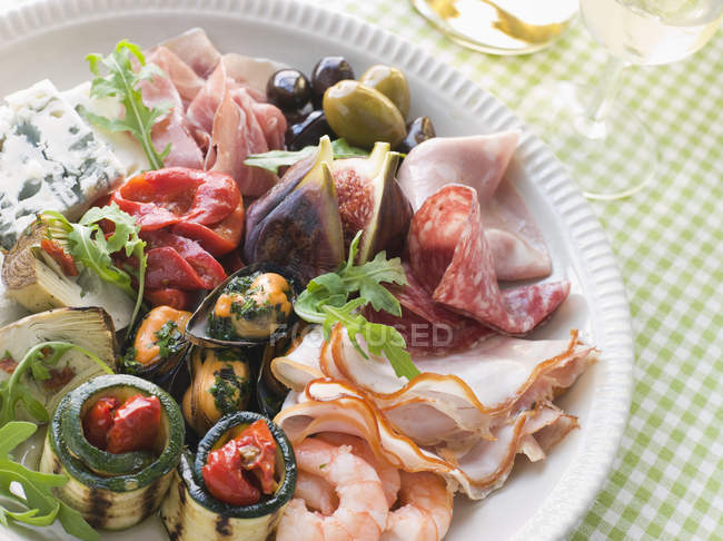 High angle view of traditional appetizer platter — Stock Photo