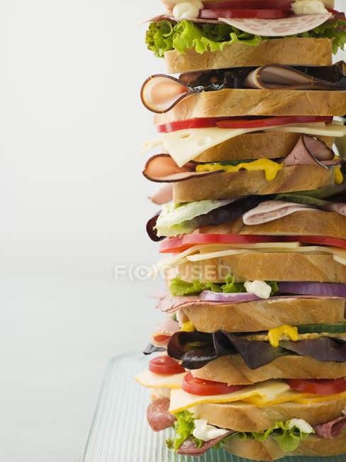 American cuisine, huge sandwich with ham — Stock Photo