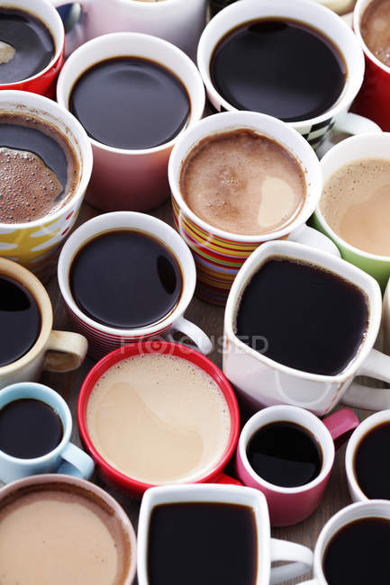 Many different coffee in cups — Stock Photo