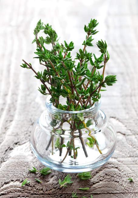 Mazzo di ramoscelli di timo crudo in vaso di vetro — Foto stock