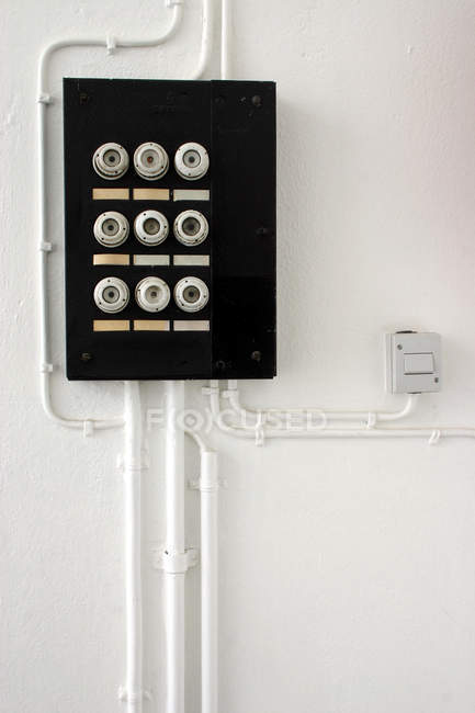 Wall with fuse box, safety switch server — Stock Photo