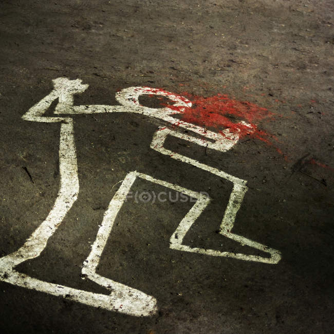 Crime scene, drawn corpse silhouette on asphalt road with red blood — Stock Photo