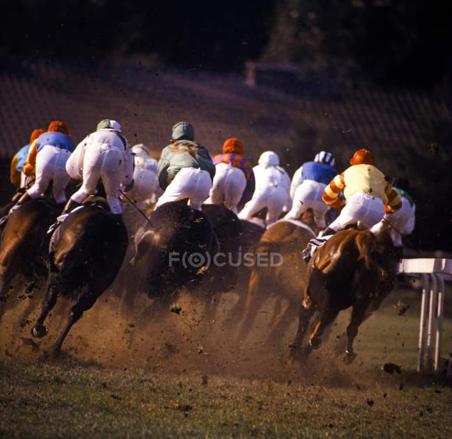 Rückansicht der laufenden Pferde mit Jockeys, Pferderennen — Stockfoto
