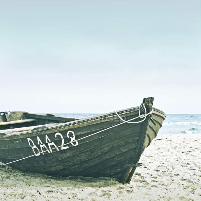 Дерев'яні човні на піщаному пляжі біля морської води — стокове фото