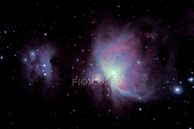 Black galaxy sky with purple lights and stars — Stock Photo