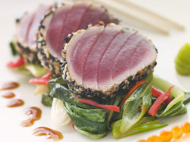 Японський суші з тунцем сировини, крупним планом — стокове фото