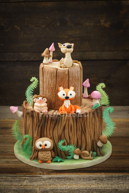 Cake With Marzipan Forest Animals Birthday Stock Photo