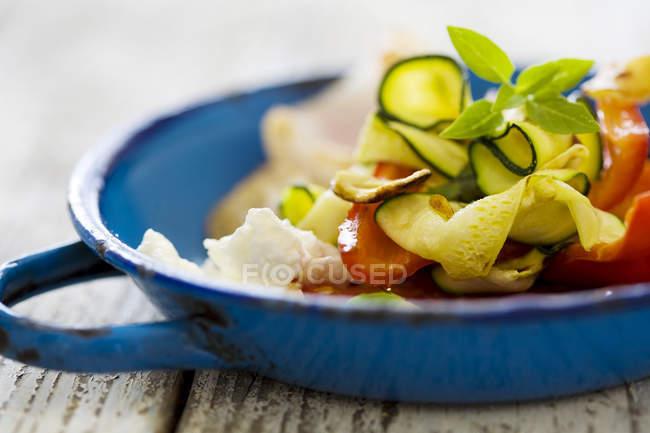Mediterraner Salat mit gegrilltem Gemüse und Ziegenkäse — Stockfoto