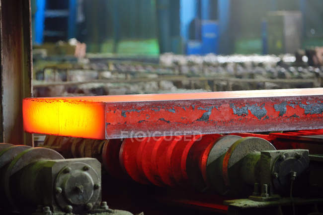 Melting hot steel, metalworking factory — Stock Photo