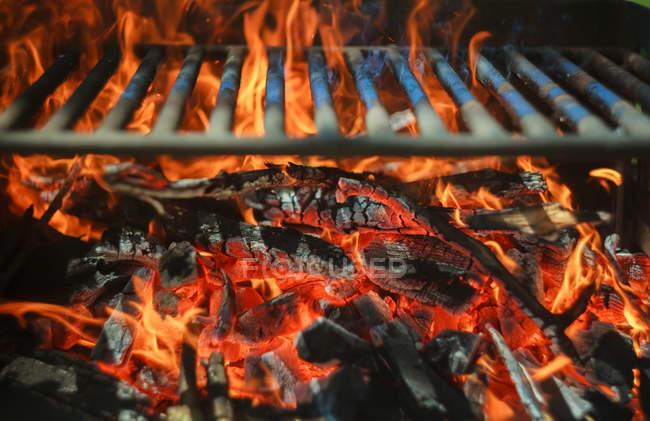 Огонь с уголь и железа решетка — стоковое фото