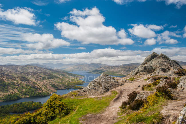 Scotland highlands, loch katrine, lake in mountains in Stirling area, Scotland — Stock Photo