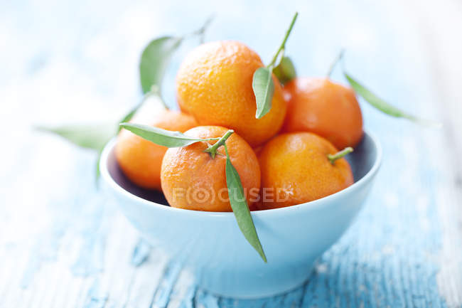 Tropical fruit, tangerines in blue bowl — Stock Photo