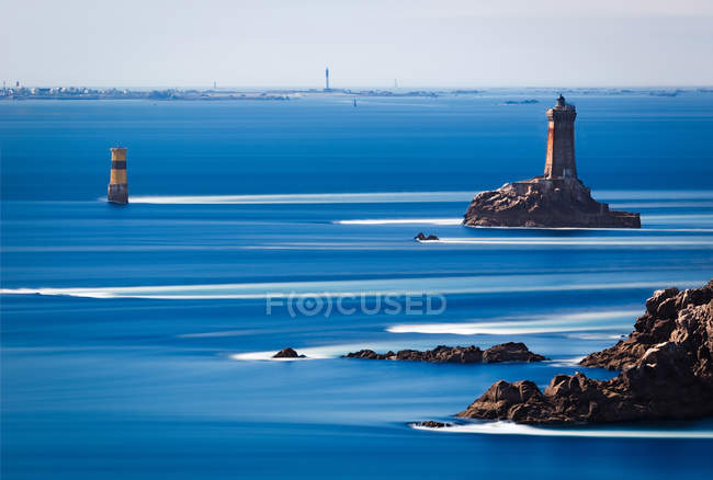 Pointe du Raz, blue sea water blurred motion, — Stock Photo