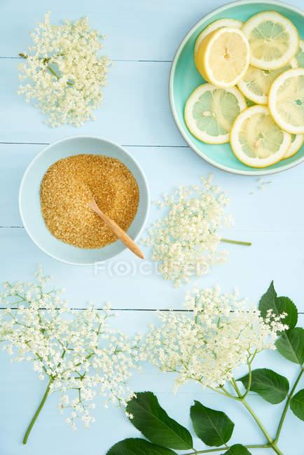 Preparing home made lemonade with lemons and brown sugar — Stock Photo