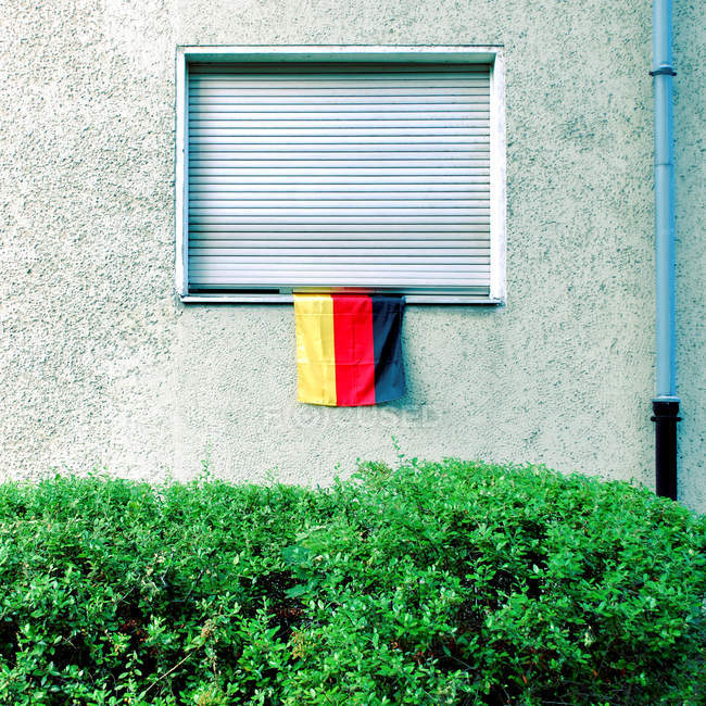 House window with Germany flag — Stock Photo