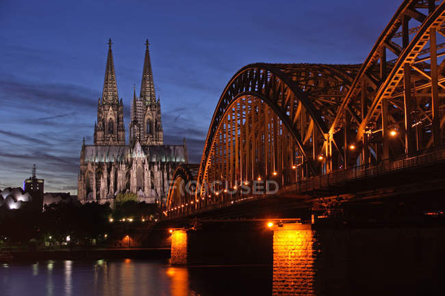 Cologne cathedral Rhine river and bridge — Stock Photo