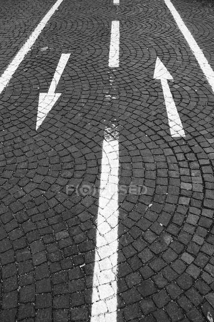 Paving stones road, bicycle lanes with arrows signs — Stock Photo