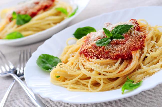 Pasta bolognese spaghetti nei piatti, primo piano — Foto stock