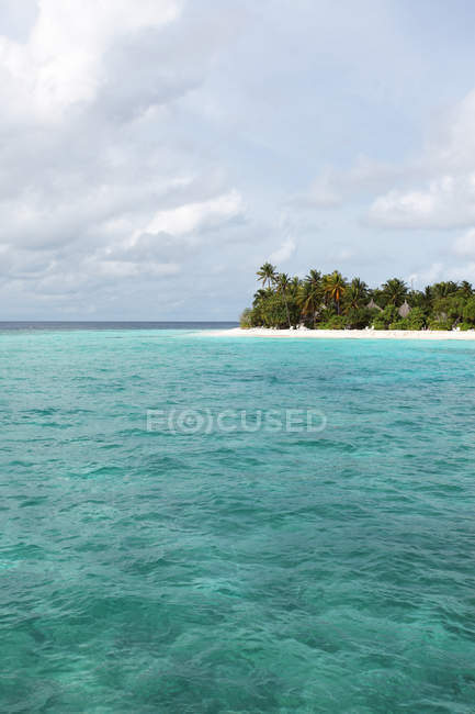 Tropical beach with palms and ocean water, Maldives, Indian ocean — Stock Photo