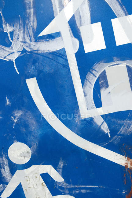 Blue metal with traffic signs — Stock Photo