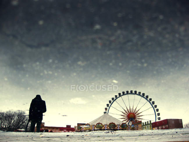 Vue arrière du personne debout au parc d'attractions en hiver, grande roue — Photo de stock