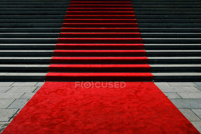 Festive red carpet on stairs — Stock Photo