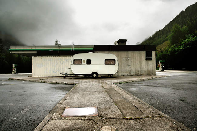 Parking station with trailer car — Stock Photo
