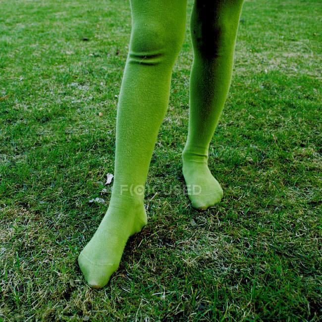 Image recadrée de la personne portant des collants verts et debout dans la prairie d'herbe verte — Photo de stock