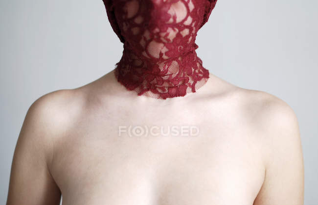 Veil lace mask on woman face, head and shoulders partial view — Stock Photo