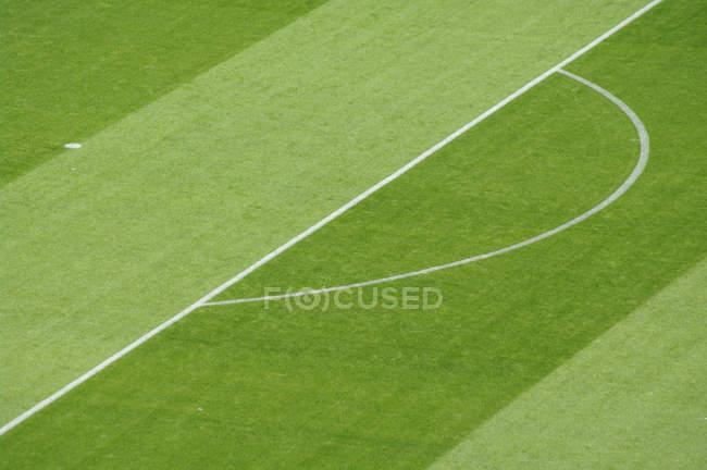 Campo de fútbol hierba marcadores de líneas, caja de la pena - foto de stock