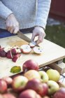 Midsection of man slicing apples at yard — Stock Photo