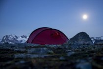 Tent on mountain against clear sky at night — Stock Photo