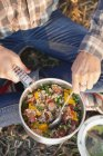 Primo piano del Viandante femminile cucina alimento sano — Foto stock