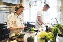 La chef femenina está cortando verduras por colega que trabaja en el mostrador en la cocina del restaurante - foto de stock