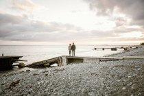 Vista posterior de la situación de pareja en embarcadero en la playa contra el cielo durante la puesta de sol - foto de stock