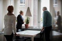 Casal sênior e agente imobiliário olhando pela janela na nova casa — Fotografia de Stock