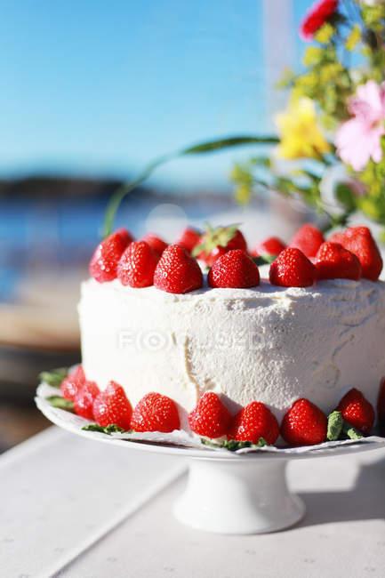 Primo piano della torta alla vaniglia con fragole e fiori nella priorità bassa — Foto stock