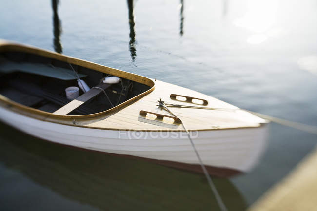 Selective focus of moored wooden sailing boat — Stock Photo