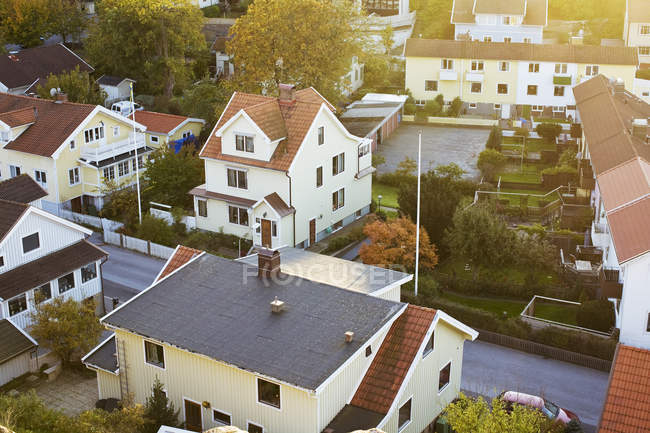 High angle view of houses in residential area — Stock Photo