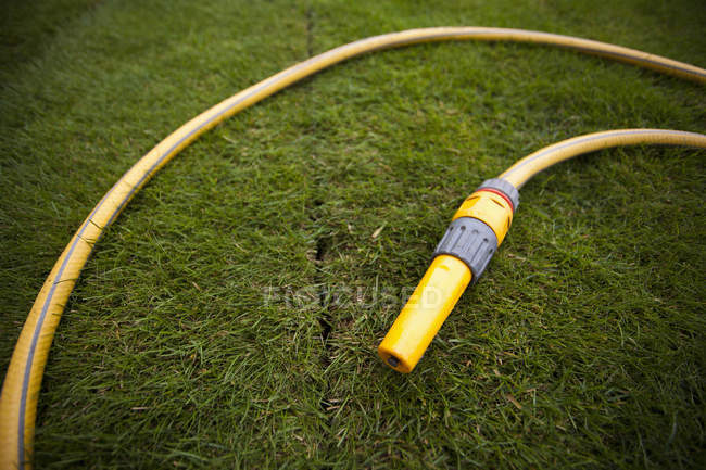 Yellow watering hose on green lawn — Stock Photo