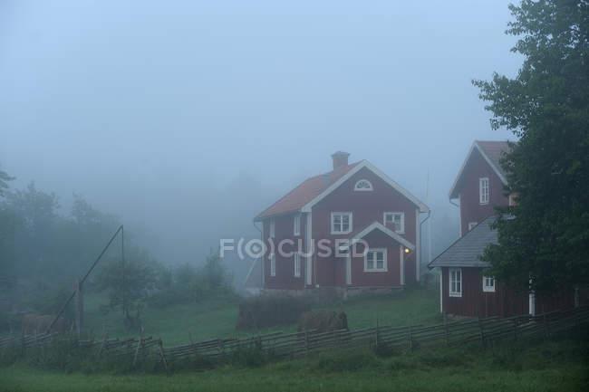 Дерев'яні приватних будинків в густий туман ранок — стокове фото