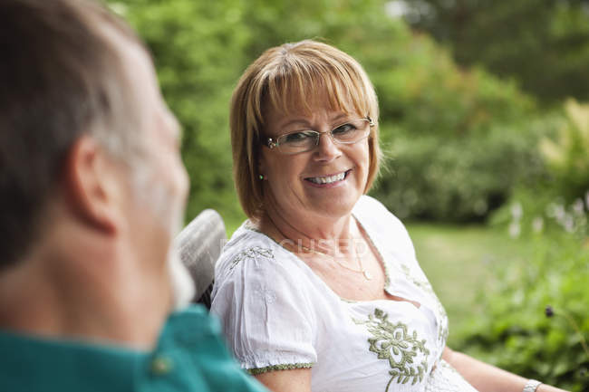 Close up of senior couple looking at each other — Stock Photo