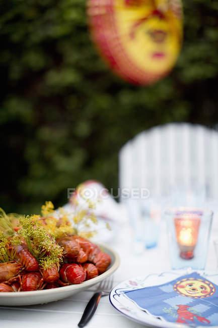 Тарілці повному приготованих омарів на обідній стіл на відкритому повітрі — стокове фото