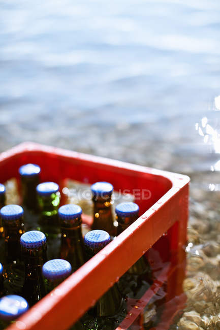 Red plastic box with bottles standing in water outdoors — Stock Photo
