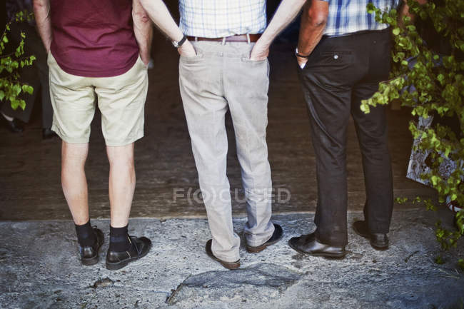 Back view of Three men in casual clothing outdoors — Stock Photo
