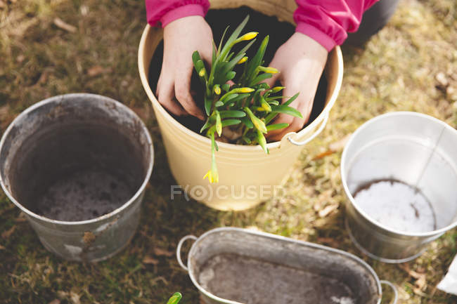 Image recadrée de jeune fille plantant pot à la cour — Photo de stock