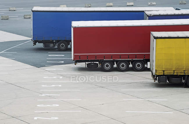 Trucks parked at ferry terminal — Stock Photo