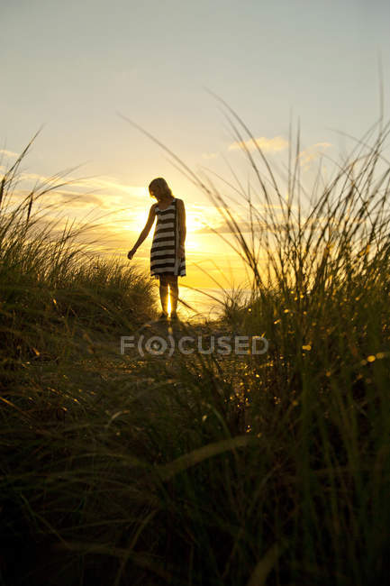 Silhouette of young woman standing in field — Stock Photo