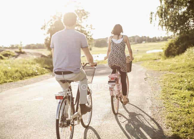 Vista trasera de los jóvenes amigos montando bicicletas en la carretera del campo - foto de stock