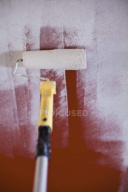 Painting on wall with paint roller — Stock Photo